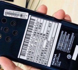 Fotografija pokazuje 5 kamera na pozadini Nokia 9 smartphona